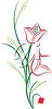 Clip art illustration of some red tulips. clipart