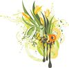 Clipart image of Spring tulips and leaves. clipart