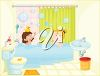 Clipart image of two little girls playing in the bath. clipart