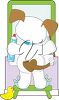 Cartoon clipart image of a puppy brushign his teeth while looking at the mirror. clipart