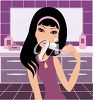 Clip art illustration of a girl brushing her teeth in the bathroom. clipart