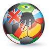 3d soccer ball with assorted European flags. clipart