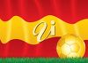 Golden soccer ball sitting in front of the Spanish flag. clipart