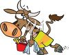 Exhausted Bull Holding a Bucket and Spade clipart