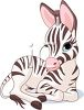 Cartoon clipart image of a baby zebra sitting down. clipart