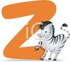 Educational clipart image of a letter z with a cartoon zebra. clipart