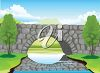 Scenic stone bridge over a river with trees. clipart