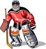 Ice Hockey Goalie Waiting for the Puck to Come to Him clipart
