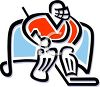 Ice Hockey Goalie Standing in the Net clipart