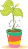 Leafy Plant with a Flower Bud Growing in a Pot clipart
