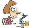 Cartoon Woman with a Strange Egg for Breakfast clipart