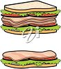 Two Meat, Tomato and Lettuce Sandwiches clipart