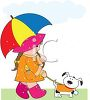 Young Girl Walking Her Dog in the Rain with an Umbrella clipart