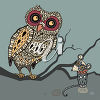 An Owl and a Mouse clipart