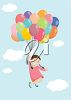 Girl Floating in the Air Holding a Bunch of Birthday Balloons clipart