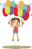 Boy Holding Two Bunches of Birthday Balloons clipart