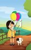 Girl Holding a Bunch of Birthday Balloons with a Puppy clipart