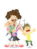 Frazzled Mother with her Screaming Children clipart