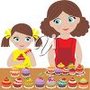 Mother and Daughter Cooking Cupcakes clipart