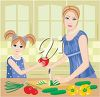 Mother and Daughter Coooking in a Kitchen clipart