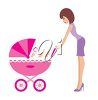 Mother Pushing her Baby in a Baby Buggy clipart