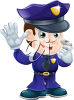 Policeman with his Hand up and Blowing His Whistle clipart