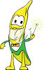 Smiling Banana Holding a Magic Wand clipart