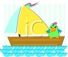 Parrot Sitting on a Sailboat on the Ocean clipart