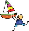 Little Boy Playing with a Toy Sailboat clipart