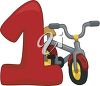 Little Kids Bike with the Number One clipart