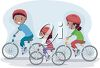 Three Children Riding their Bikes clipart