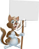 Cartoon Cat Holding up a Sign clipart