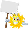 Cartoon Sun Holding up a Sign clipart