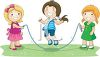 Three Children Playing with a Skipping Rope clipart
