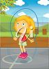 Girl with a Skipping Rope clipart