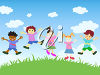 Cartoon Kids Jumping in the Air clipart