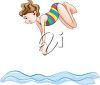 Girl Diving clipart