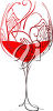 Decorative Wine Glass with Red Wine clipart