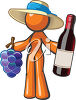 Woman Holding a Bottle of Wine and Some Grapes clipart