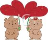 Pair of Hamsters Carrying Leaf Umbrellas clipart
