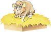 Goofy Hamster on a Bed of Hay clipart