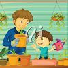 Father and Son Growing Plants clipart