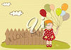 Girl Holding Balloons Beside a Fence clipart