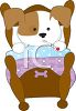 Poorly Dog in Bed clipart