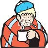 Ill Man Drinking a Hot Drink and Taking His Temperature clipart
