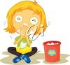 Little Girl Blowing Her Nose clipart