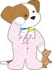 Sleepy Puppy Wearing Pajamas clipart