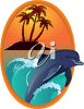 Dolphin Swimming Near a Desert Island clipart