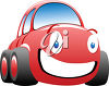 Happy, Smiling Red Car clipart