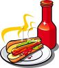 Hot Dog with Mustard and Ketchup clipart